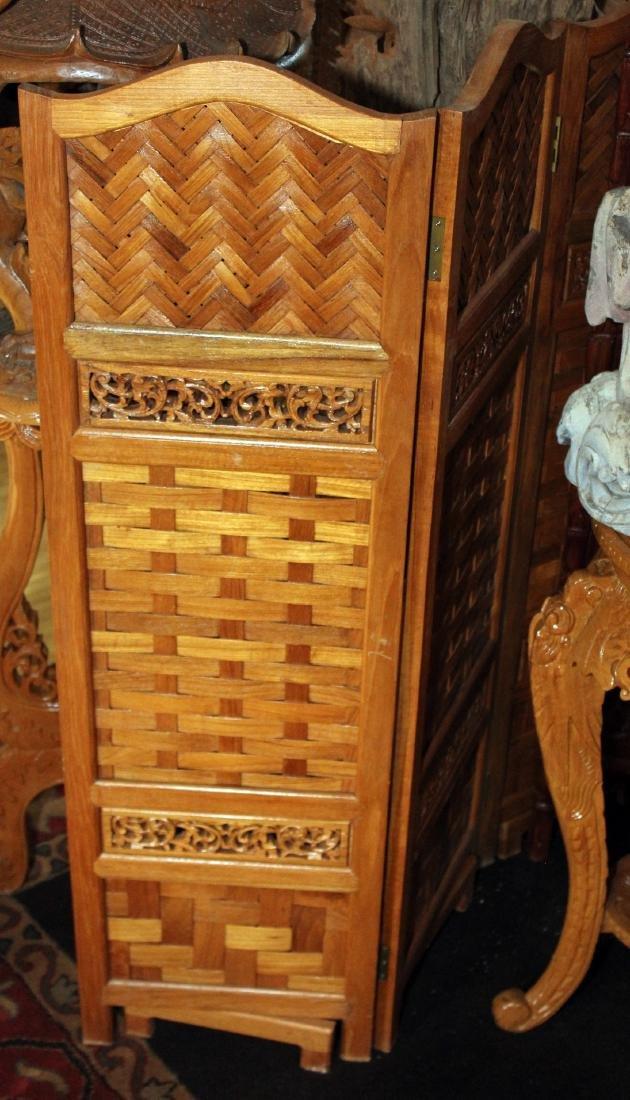 "Thai woven wood 5 panel screen 50"" x 72.5"""