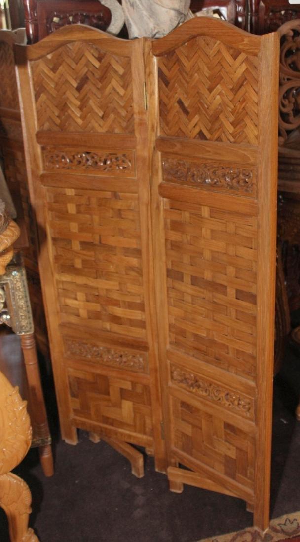 "Thai woven wood 5 panel screen 50"" x 72.5"" - 3"