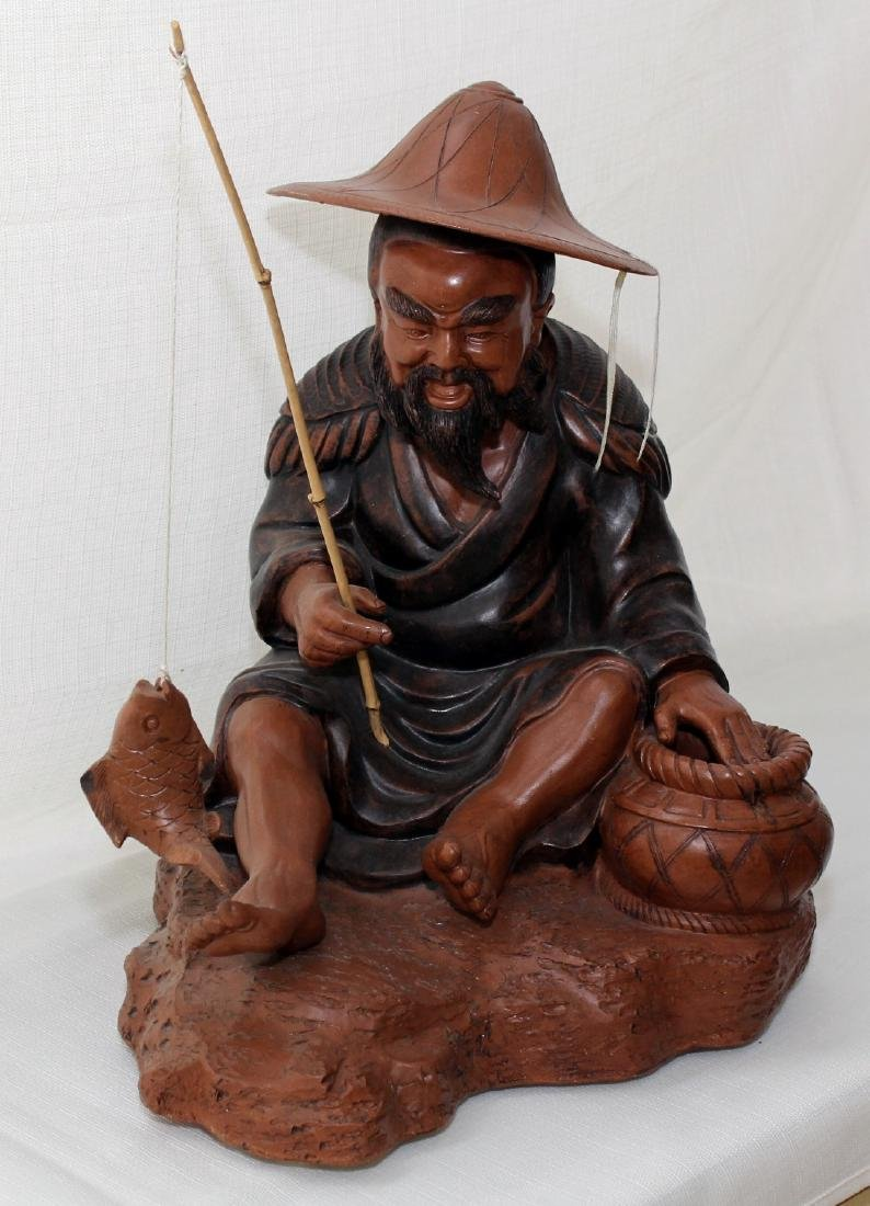"""Chinese clay statue of man fishing 16"""" x 13"""" - 2"""