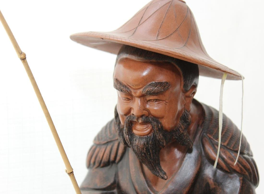 """Chinese clay statue of man fishing 16"""" x 13"""" - 3"""