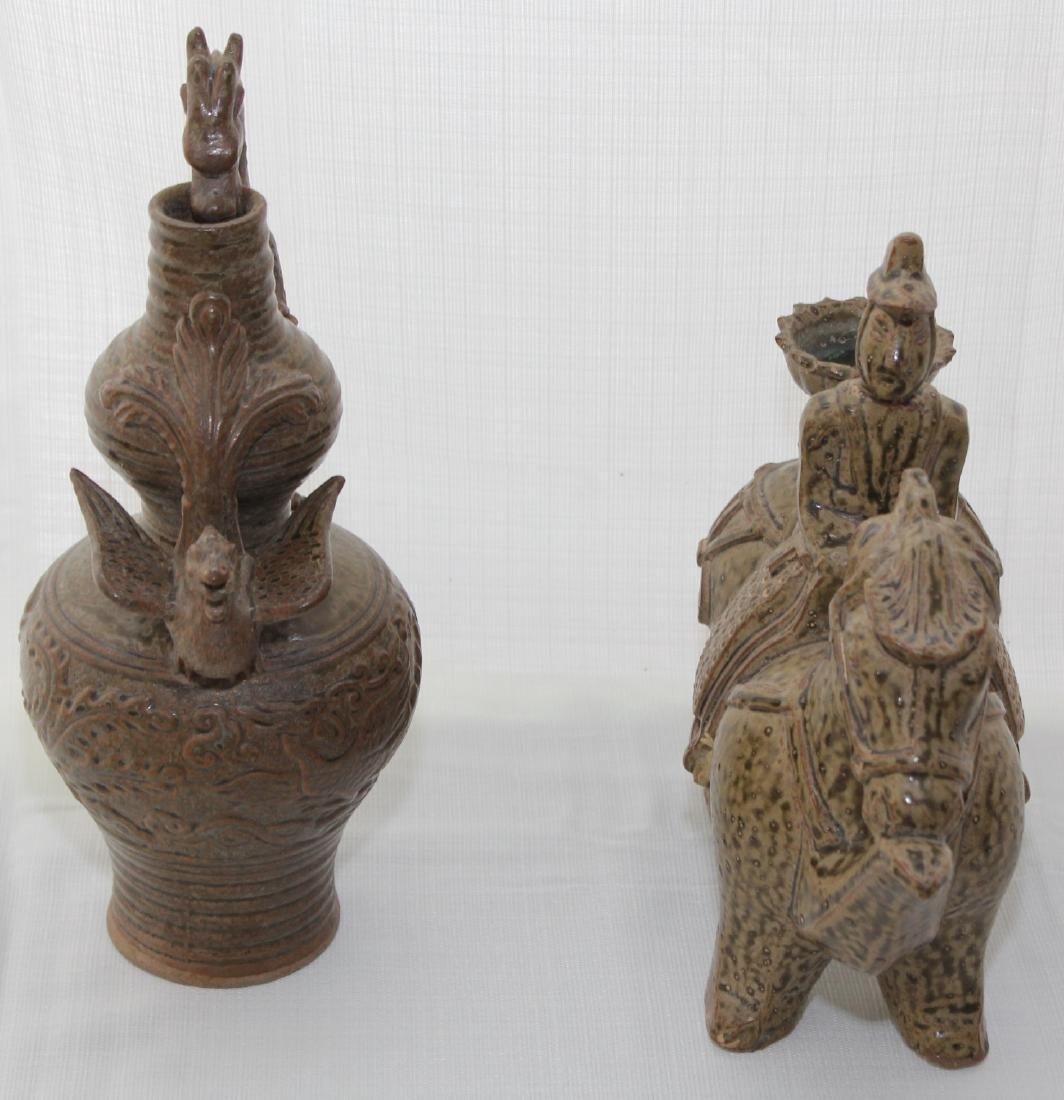 (2) Celadon glazed figure of man & horse & ewer & - 2