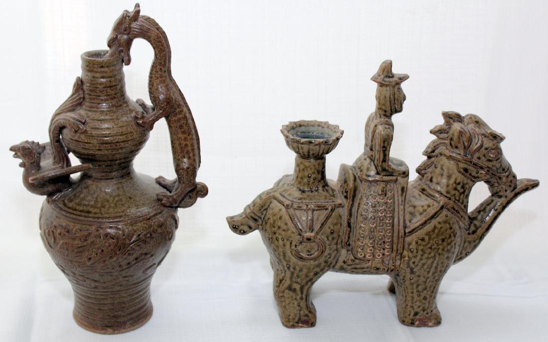 (2) Celadon glazed figure of man & horse & ewer & - 3
