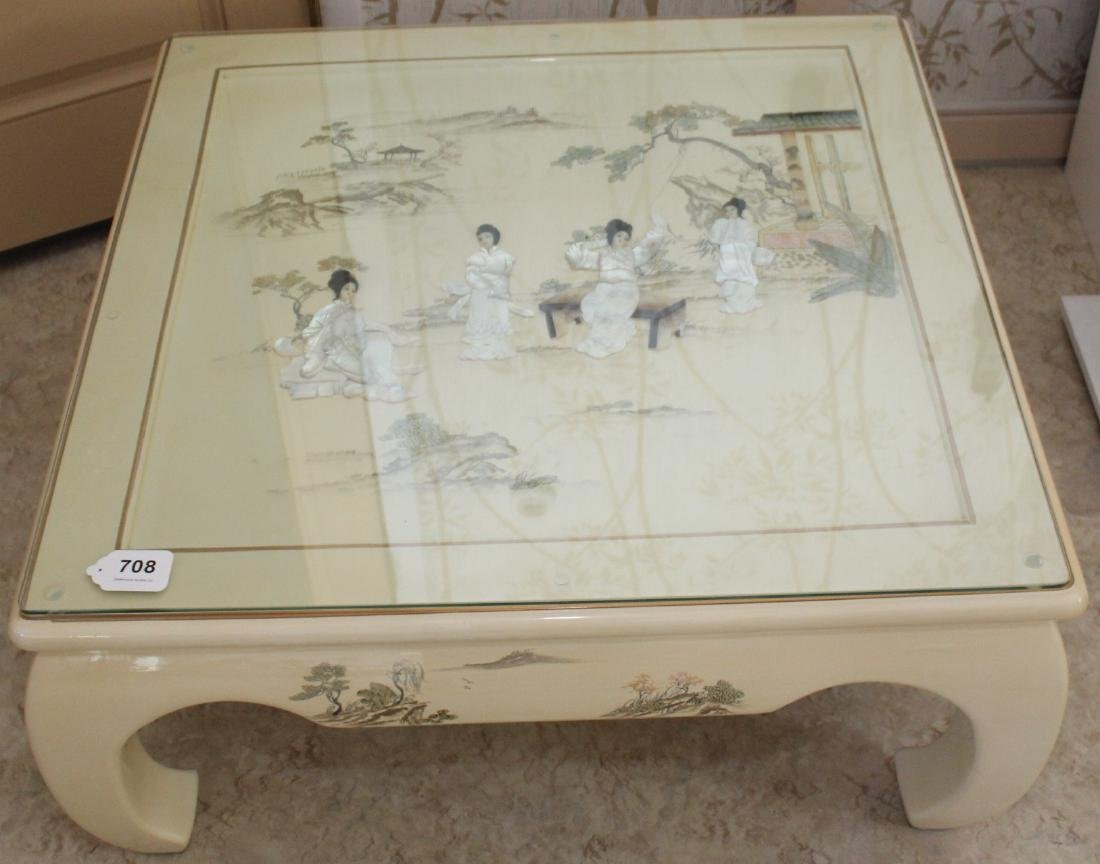 Chinese white lacquer Mother of Pearl embellished