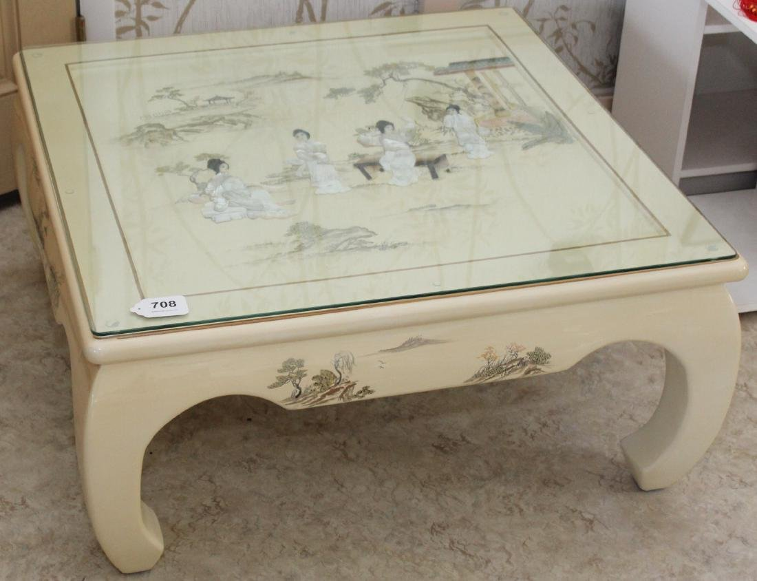 Chinese white lacquer Mother of Pearl embellished - 6