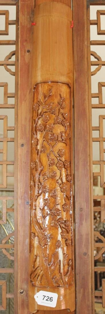 "Set of 4 Chinese wood carved floral half columns 41"" x"
