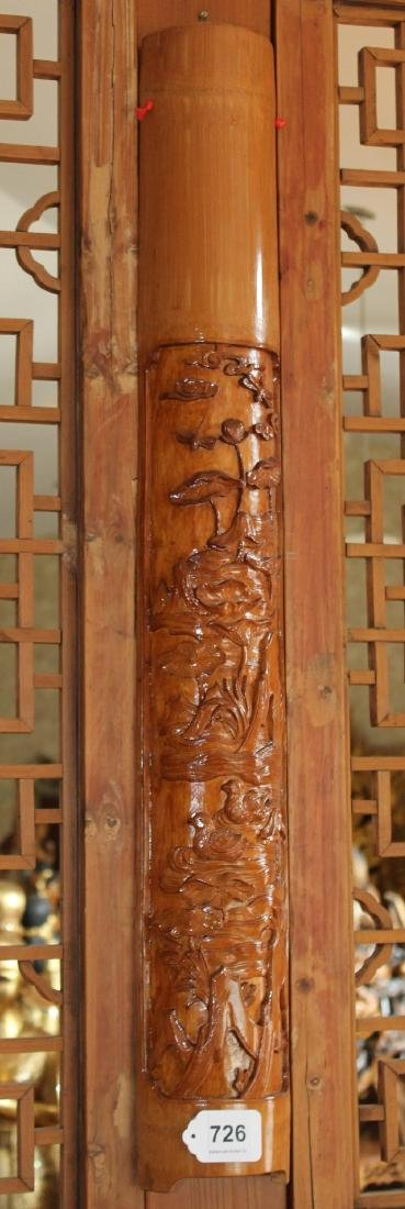 "Set of 4 Chinese wood carved floral half columns 41"" x - 4"