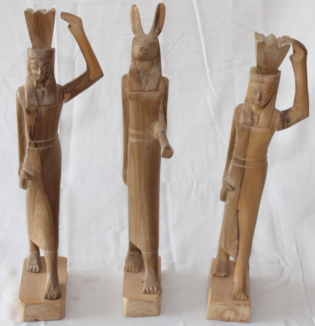 """Set of 3 Egyptian wood carved figures 19"""" x 3"""""""
