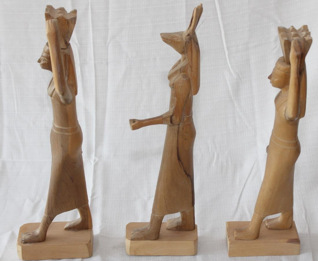 """Set of 3 Egyptian wood carved figures 19"""" x 3"""" - 2"""