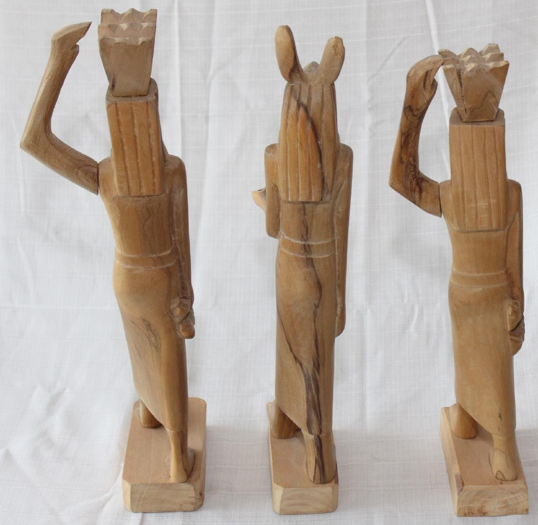 """Set of 3 Egyptian wood carved figures 19"""" x 3"""" - 3"""