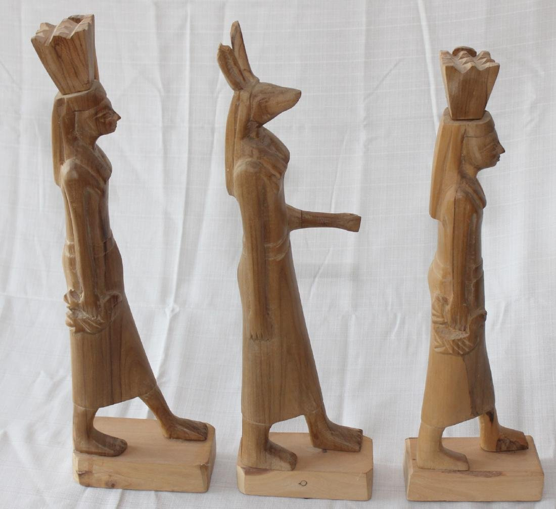"""Set of 3 Egyptian wood carved figures 19"""" x 3"""" - 4"""