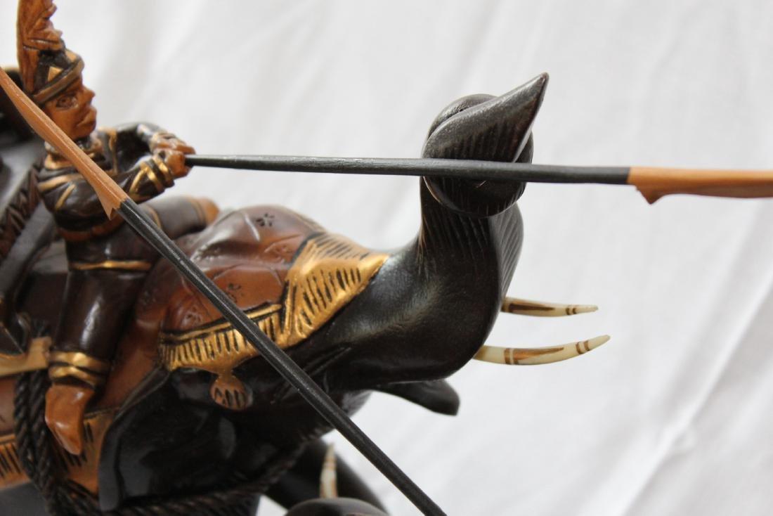 "Thai carved wooden battle elephants 21"" x 22"" - 3"