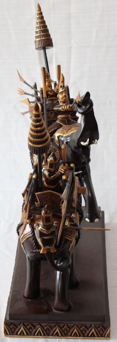 "Thai carved wooden battle elephants 21"" x 22"" - 6"