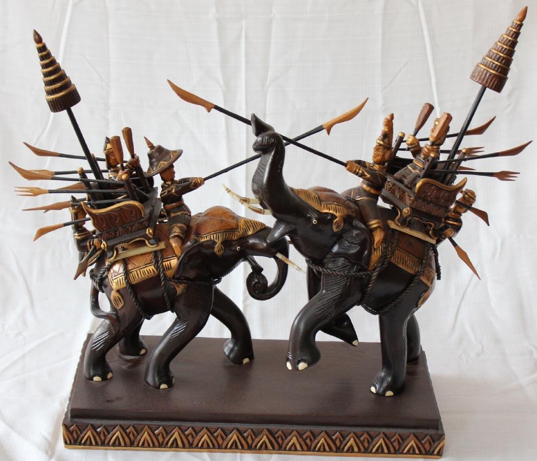 "Thai carved wooden battle elephants 21"" x 22"" - 7"