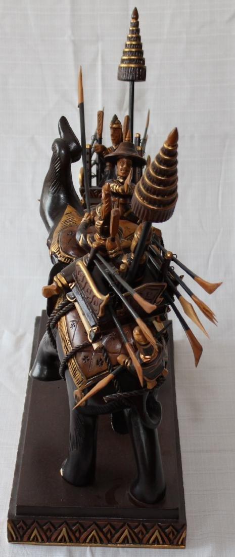 "Thai carved wooden battle elephants 21"" x 22"" - 8"