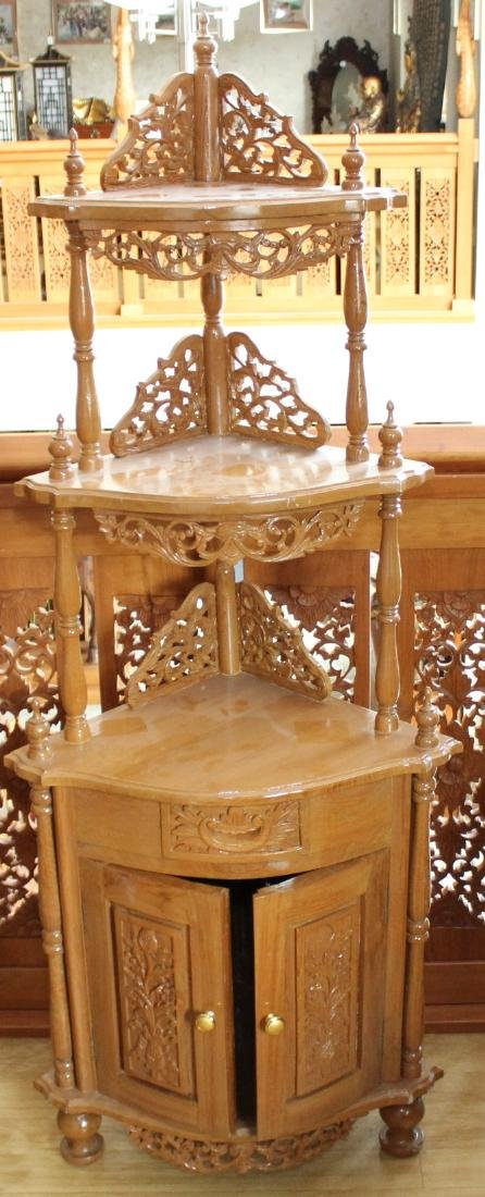 Myanmar wood carved double dr. 3 tier corner stand 64""