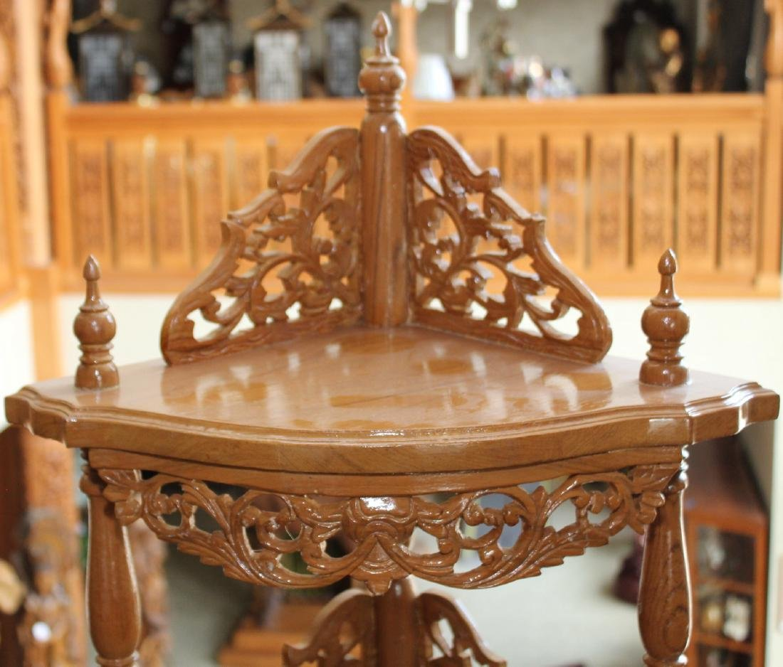"Myanmar wood carved double dr. 3 tier corner stand 64"" - 2"