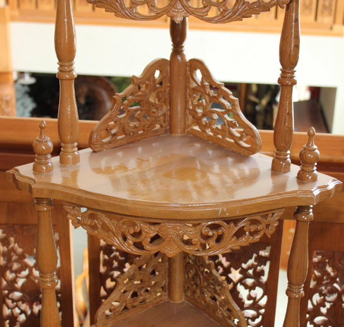 "Myanmar wood carved double dr. 3 tier corner stand 64"" - 3"