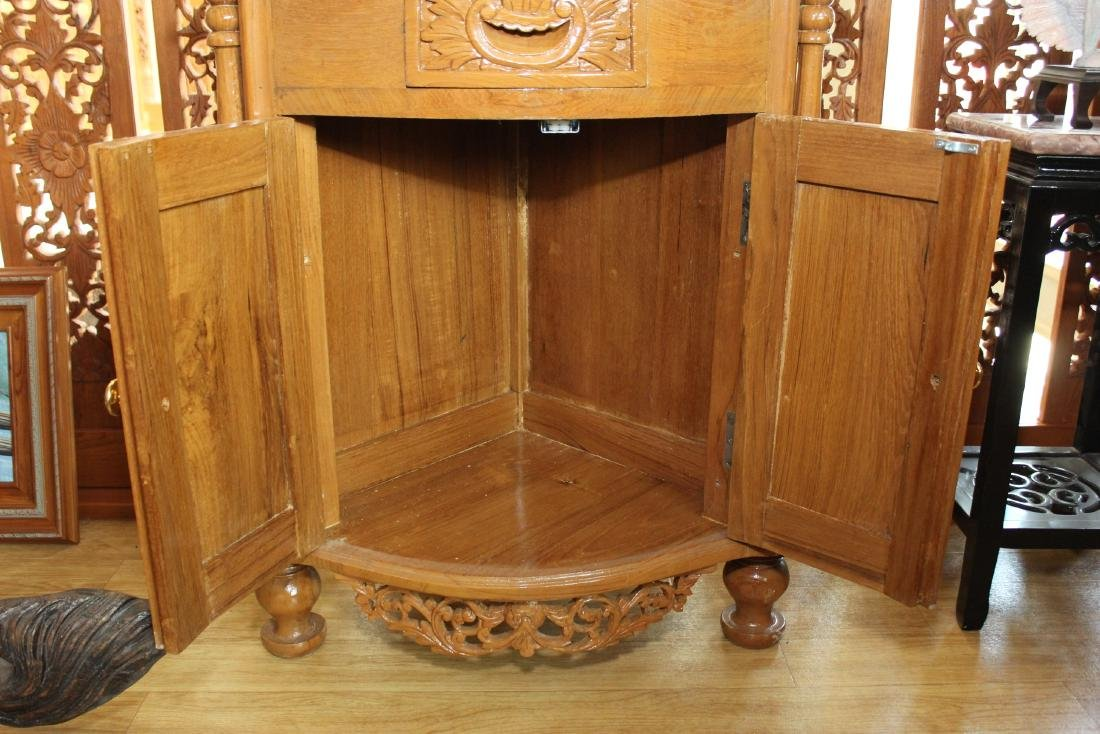 """Myanmar wood carved double dr. 3 tier corner stand 64"""" - 6"""