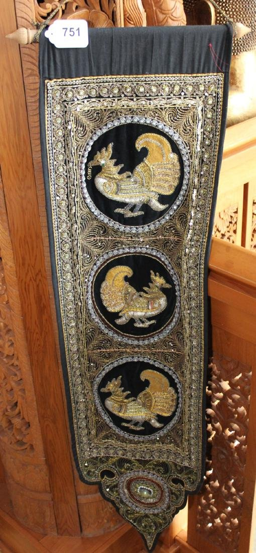 "2 Asian tapestries of birds 14"" x 51"" 7 (1) dragon"