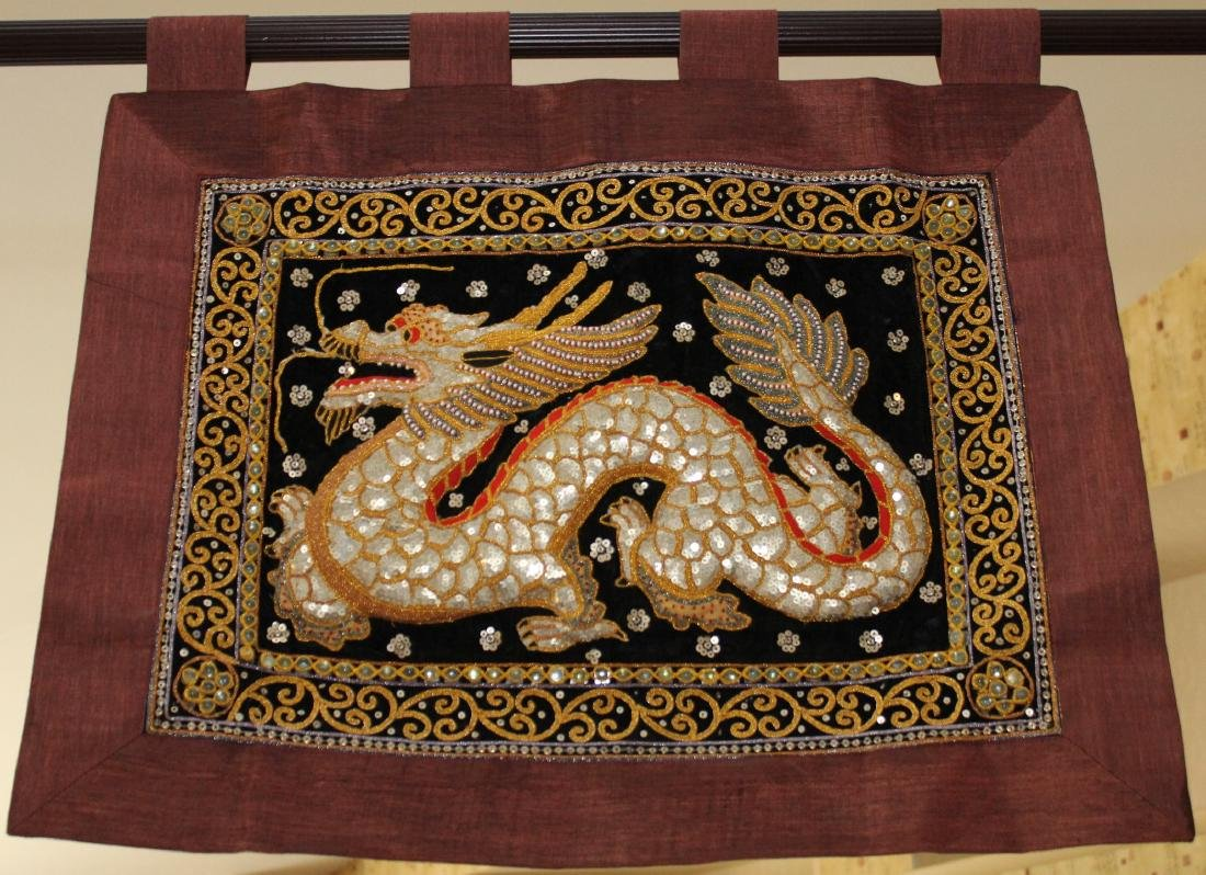 "2 Asian tapestries of birds 14"" x 51"" 7 (1) dragon - 2"