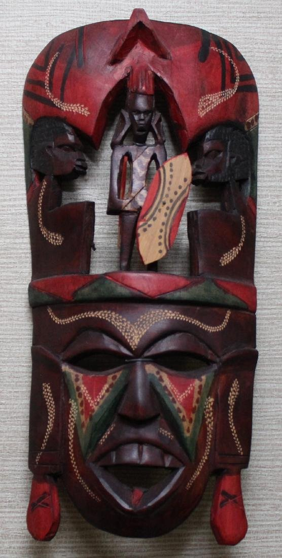 (3) Kenya carved wood masks depicting scenes of - 3
