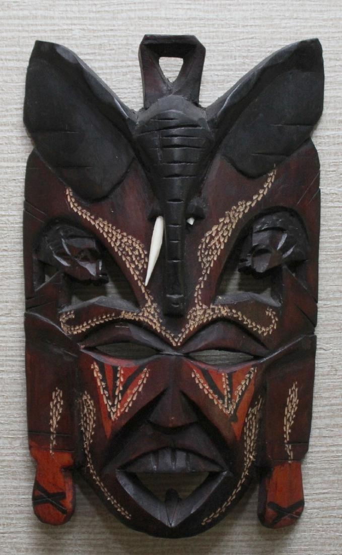 (3) Kenya carved wood masks depicting scenes of - 6