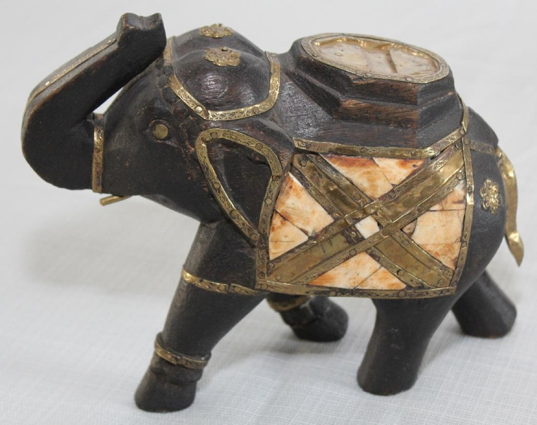 Grouping of 8 wood carved elephants, 1 paint deco - 2