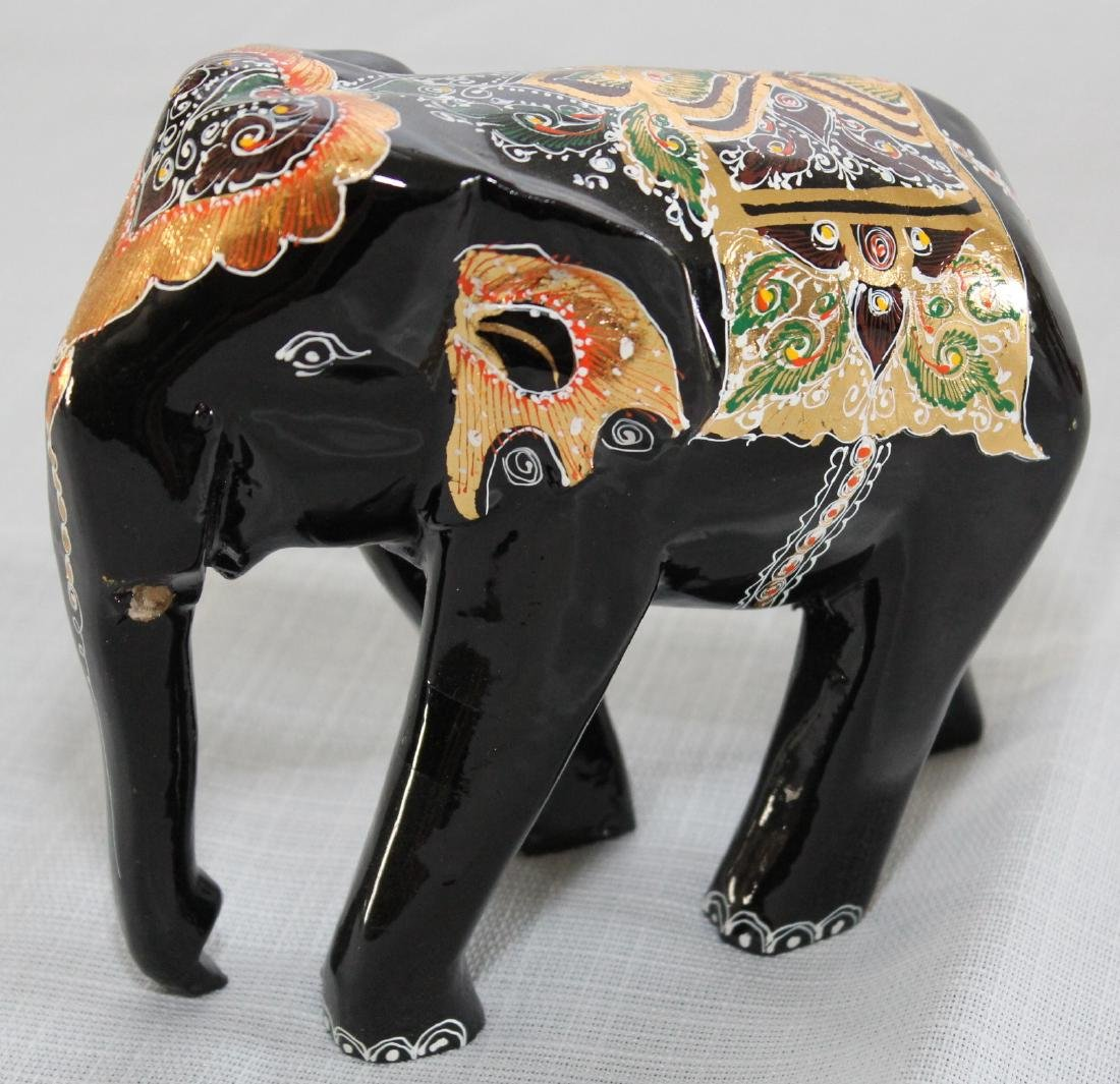 Grouping of 8 wood carved elephants, 1 paint deco - 3