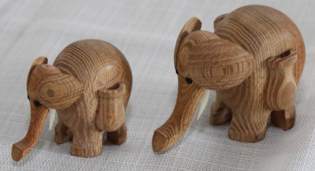 Grouping of 8 wood carved elephants, 1 paint deco - 4