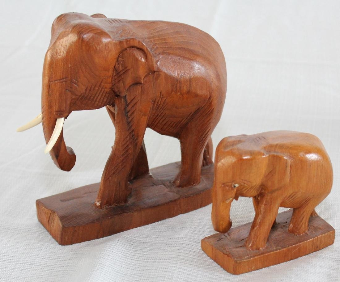 Grouping of 8 wood carved elephants, 1 paint deco - 5