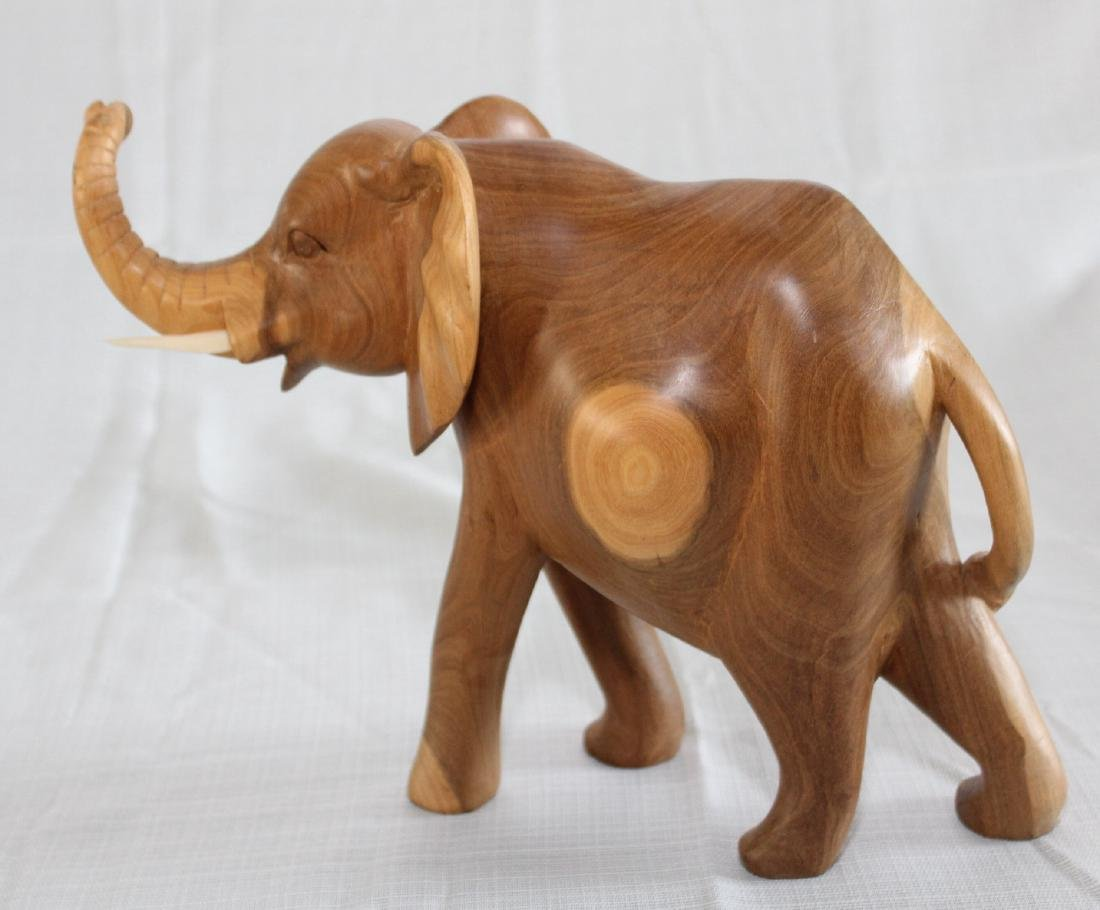 Grouping of 8 wood carved elephants, 1 paint deco - 6