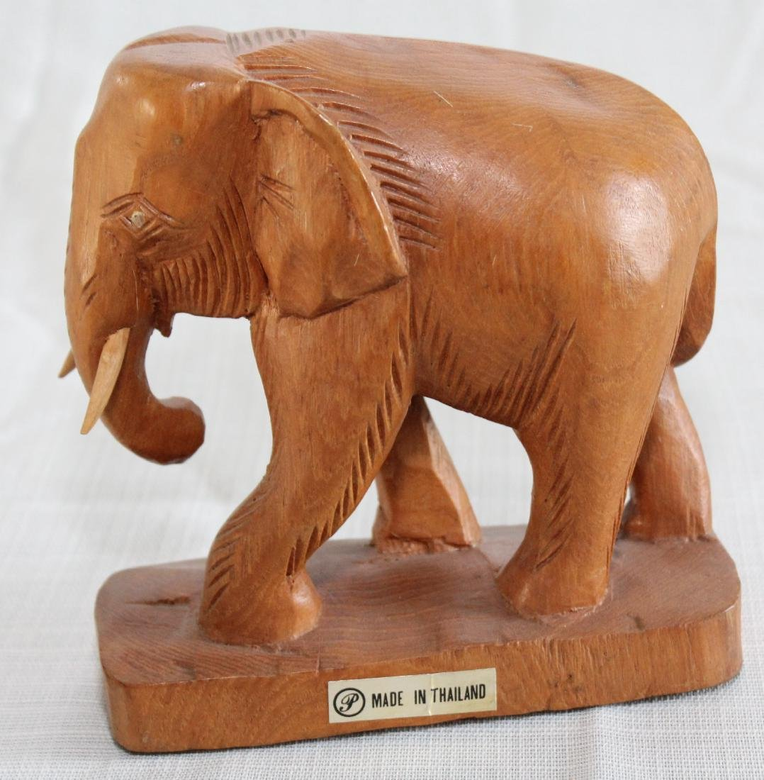 Grouping of 8 wood carved elephants, 1 paint deco - 7