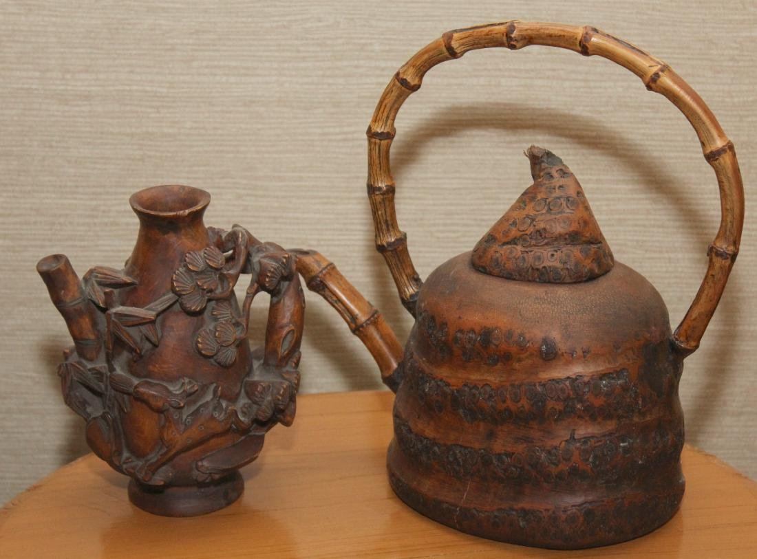 (2) Asian wood carved vessels in the form of teapots