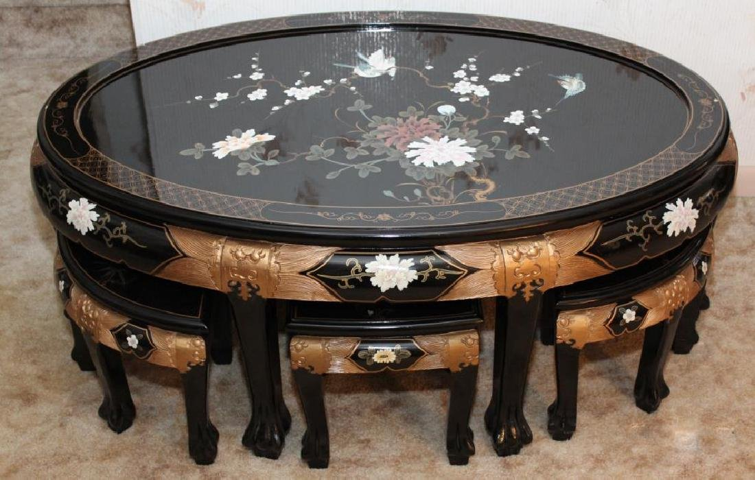 Chinese black lacquer paint decorated low table w/6