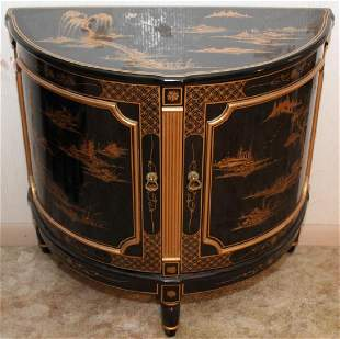 Chinese black lacquer bilt decorated half round double
