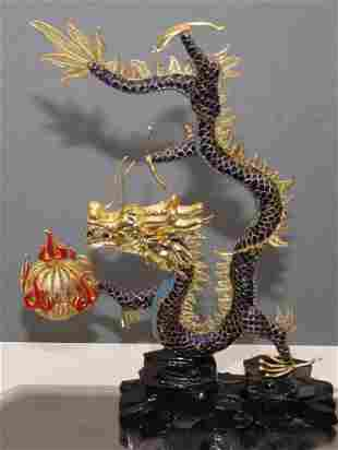 Chinese gilded and enameled figural dragon on stand