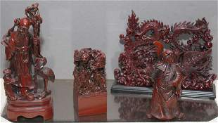 set of 4 Chinese red resin statues wisemen warriors