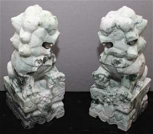 pair of carved Jade hardstone temple dogs 5w x 13h