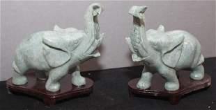 pair of Chinese carved Jade hardstone elephants on
