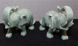 Chinese carved Jade hardstone elephants 55w x 45h