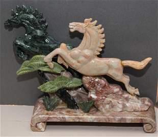 Chinese carved Jade hardstone rampant horse landscape
