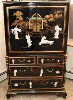 Chinese black lacquer applied mother of pearl decorated
