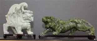 Chinese carved Jade hardstone Tian l Pixiu 8w x 9h