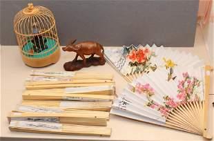 dozen Chinese folding fans wood carved water buffalo