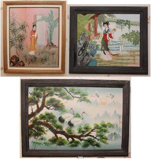 3 Chinese oil on canvases 2 Geisha 25w x 29h