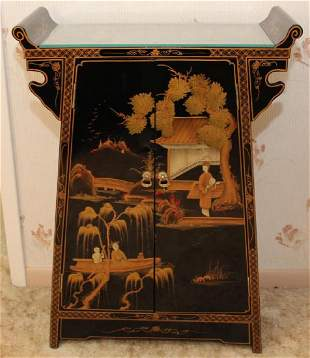 Chinese black lacquer decorated tall double door