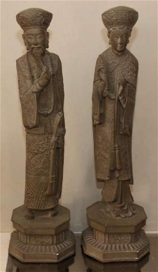 pair Asian figural statues having few small chips 6w