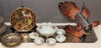 (2) Satsuma plates, Thai paint decorated goldfish &