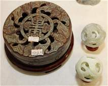 Chinese carved Jade hardstone bat pierced covered