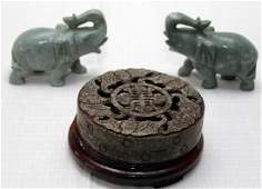 Chinese carved Jade hardstone bat pierced lid covered